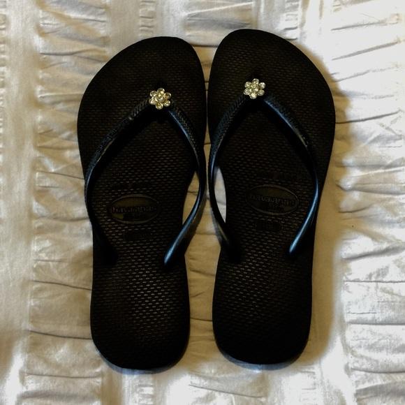 1d8325b325b746 Havaianas Shoes - 🌸Havaiana Black Slim Flip Flops with Flower Jewel